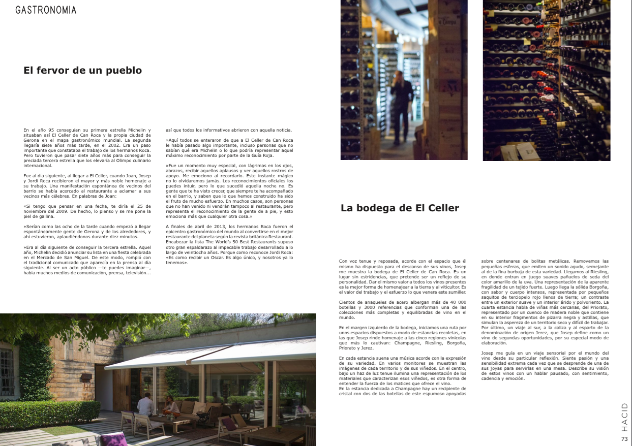 EL CELLER DE CAN ROCA PARA HACID MAGAZINE